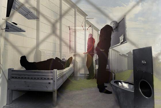 Bildemontasje av en innsatt i en fengselscelle, med fengselsmur og netting rundt.