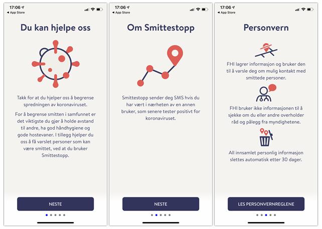 Bilde av smittesporingsapp i app store