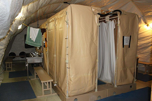 Inside the shower tents. Photograph taken by Kjersti Lohne and approved by Joint Task Force Guantanamo's Operational Security