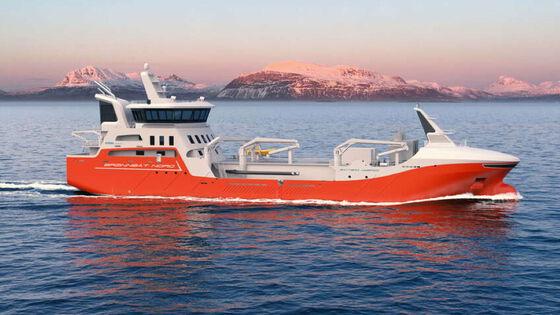 En brønnbåt langs norskekysten. Foto.
