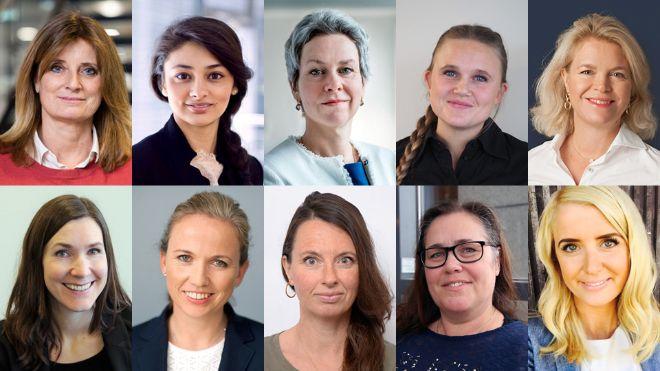 Bilde av 10 kvinnelige jurister som deltar på arrangementet.