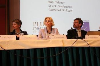 Kristīne Līce, Ministry of Foreign Affairs, Latvia; Julia Laffranque, Judge, European Court of Human Rights; Andreas Føllesdal, Director of PluriCourts, University of Oslo; Session II, Oslo Conference, April 2014; Source:UiO