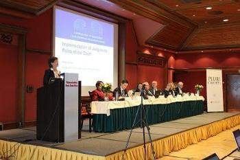Judge Helen Keller speaks during Session III on the implementation of judgments of the European Court of Human Rights.