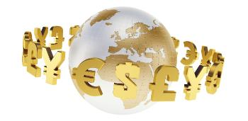 Illustration: Globe with currency symbols