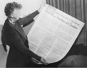 Eleanor Roosevelt holding the Universal Declaration of Human Rights.