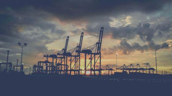 Bildet kan inneholde: sky, himmel, etterglød, kran, skumring.