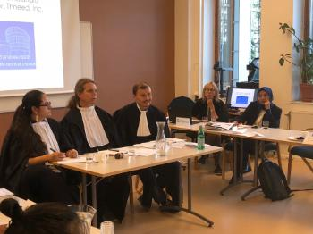 The moot court judges consider the case