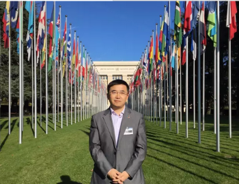 One of the first NCHR MA graduate students, Dr. Liang Xiaohui, has become a leading expert on Corporate Social Responsibility (CSR) in China. As the first Chinese scholar, he set up and taught a course on Business and Human Rights at the Peking University Law School. In 2016, Dr. Liang was named one of the local SDG Pioneers by the Local SDG Pioneers Programme, which is a part of the UN Global Compact's Making Global Goals Local Business campaign.  Photo: Dr. Liang Xiaohui at the United Nations Office in Geneva, Switzerland.