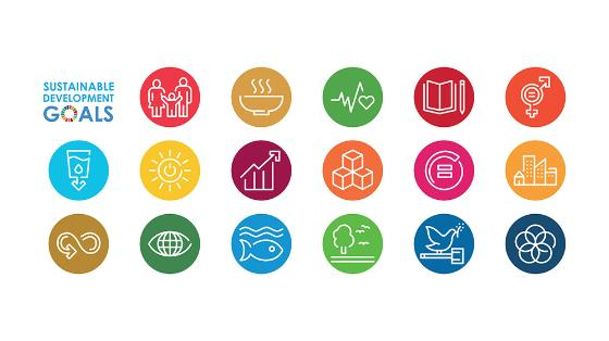 17 colorful icons representing the individual sustainable development goals.