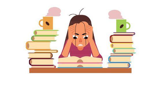 Tegning av student som stresser og leser til eksamen